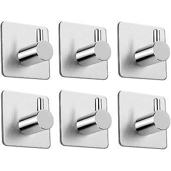 Qeekzeel Self Adhesive Hooks, Brushed Stainless Steel Stick on Wall Door Towel Hook Hanger