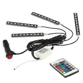4 In 1 wireless remote control interior atmosphere light bar car floor dash led decoration lamp kit 12v