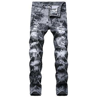 YANGFAN גברים&s מסוגנן מודפס ישר רגל ג'ינס מכנסיים ג'ינס