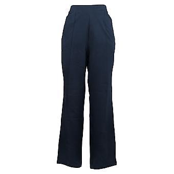 Susan Graver Kvinder 's Bukser Bomuld Spandex Slim Leg Pull On Blue A384273