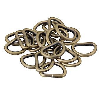 20 x Black Metal D Ring Buckles for Strap Keeper Webbing 2.5cm ID
