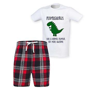 Mens Plumber Dinosaur Tartan Short Pyjama Set