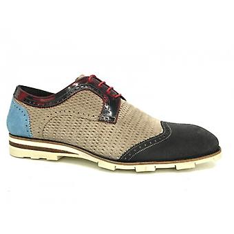 Men's Shoes Harris Laced Turquoise Suede Beige Anthracite Handmade U16ha47