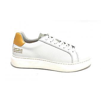 حذاء طموح للرجال 10634a أحذية رياضية في الجلد الأبيض / صفراء عالية أسفل Us21am12