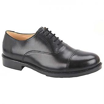 Grafters Dustin Mens Leather Oxford Cadet Shoes Black