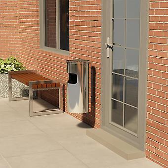 vidaXL wall ashtray stainless steel 26 L