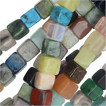 Perle di pietre preziose, pietre miste, cubo quadrato 4mm, filo da 15,5 pollici, multicolore