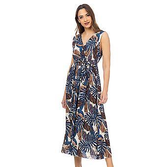 Lange bloem print jurk met wrap nek en riem