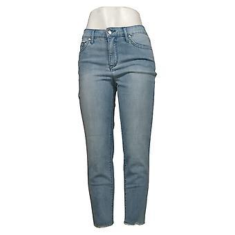 H by Halston Dames Petite Jeans Denim Straight Ankle w/ Seam Blue A353786