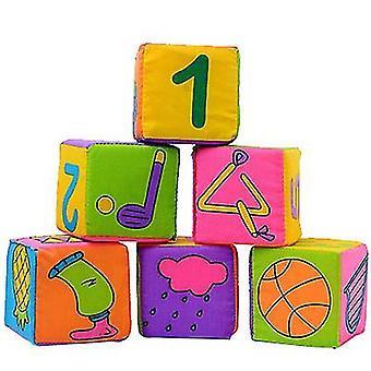 Soft rattle blocks, 6 pcs multifunctional cloth building blocks az9973