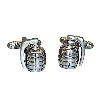 Grenade Cufflinks - Onyx Art - Gift Boxed - Military Army Brushed Finish