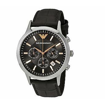 Emporio Armani AR2513 Renato Bruin Leer Grijs Wijzerplaat 43mm Heren Chronograph Horloge