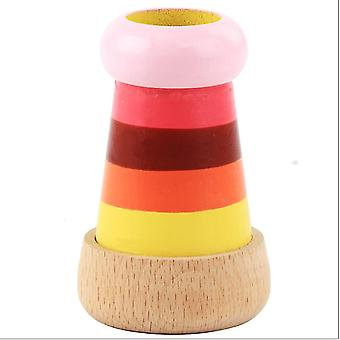 Colorful Striped Multi Prism Kaleidoscope Toy,wooden Simulation Telescope Educational Props(Color