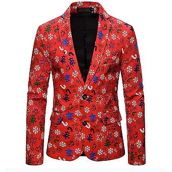 Mens Casual Two Button Single Breasted Blazer(M)