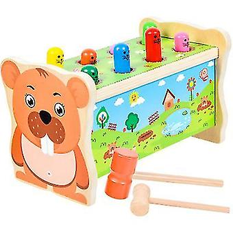 צעצוע פטיש עץ, שרפרף פטיש מסמר, למשוך לאורך צעצוע גופר פיל, שולחן העבודה להכות עכבר ו