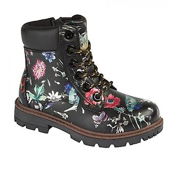 Cipriata Sonia Girls Lace Up Ankle Boot Black Floral