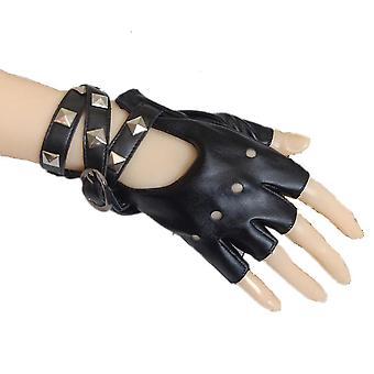 Punk krátké rukavice krajka síť hůl zápěstí zábal půl prstu rukavice černá