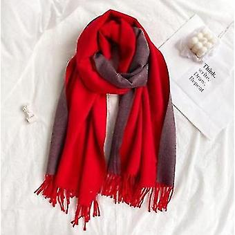 Double-sided Solid Color Dual-purpose Bib Mid-length Thick Warm Shawl(Red)