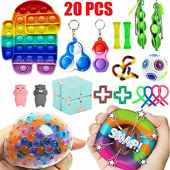 20 Pack Toys Set Sensory Tools Bundle Stress Relief Hand Kids Toy