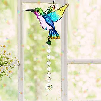 Kristall Sonnenfänger Kolibri Anhänger Hängender Kronleuchter Regenbogen Prisma Hersteller Fenster Ornament Sonnenfänger Haus Garten Dekoration B