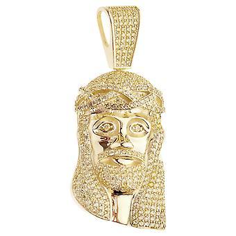 Prémio Bling - 925 prata esterlina ouro pingente cabeça de Jesus