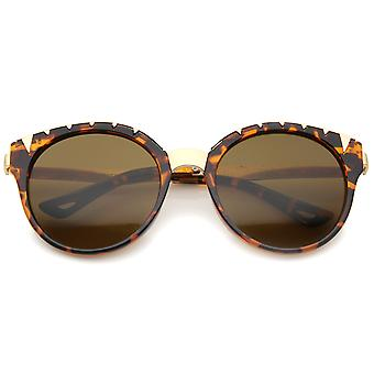 Women's Oversize Triangle Detail Round Cat Eye Sunglasses 55mm