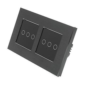 Я LumoS черный матовый алюминий Двойная рамка 6 Gang 1 способ удаленного WIFI / 4G сенсорный Светодиодные переключения черные вставки