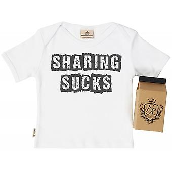 Spoilt Rotten Sharing Sucks Babys T-Shirt 100% Organic In Milk Carton
