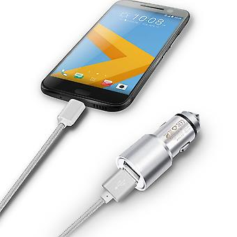 (Silver) Dual Port Aluminium Car Charger Adaptor (3.1A/24W) & 1 Meter Micro-USB Data Cable For Archos 55 Graphite