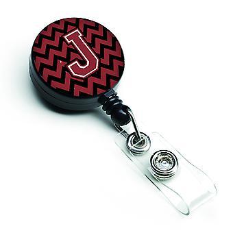 Garnet Chevron litery J i czarny chowany odznaka bębnowa