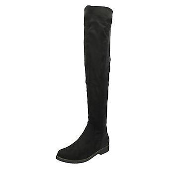 Ladies Spot On Flat Knee High Boots F50850