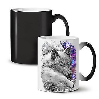 Wolf Space Beast Animal NEW Black Colour Changing Tea Coffee Ceramic Mug 11 oz | Wellcoda