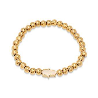 Ladies 18K Gold Plated Stainless Steel Beaded Bracelet