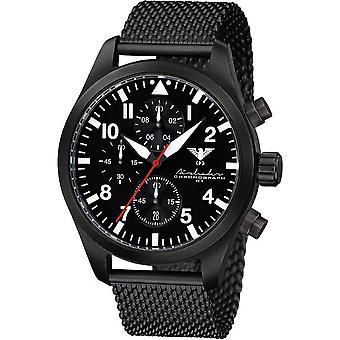 KHS Herrenuhr Airleader svart stål kronograf KHS. AIRBSC. MB