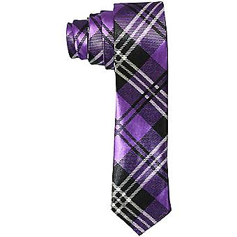 Slim satin tie - STRIPES black / purple