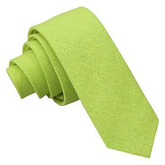 Lime grün Hobsack Leinen schmaler Krawatte