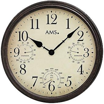 AMS 9463 wall clock quartz mineral crystal with display of temperature, moisture