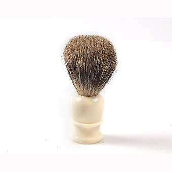 Shaving brush, hand turned, white plastic handle Direct from France