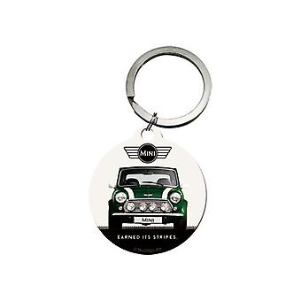 Official Classic Mini Cooper Car Round Metal Keyring - British Racing Green