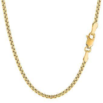 14 k Gelb Gold Round Box Kette Halskette, 2,1 mm