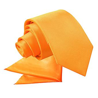 Fluorescent Orange Plain Satin Tie & Pocket Square Set for Boys