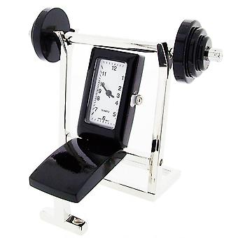 Gift Time Products Gym Bench Press Mini Clock - Black/Silver