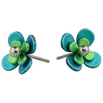 Ti2 Titanium Doppel vier Blütenblatt Bead Blume Ohrstecker - grün