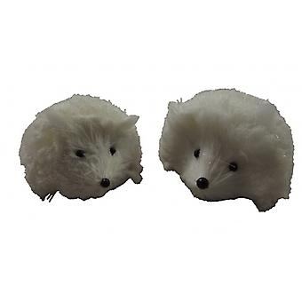 Gisela Graham 2 White Christmas Hedgehog Decorations