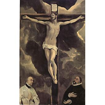Christ on the Cross Adored by Two Donors, El Greco