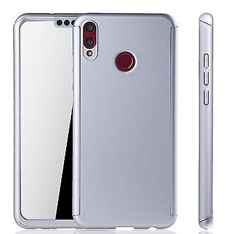 Huawei honor 8 X telefon sag beskyttende tilfælde fuld dække tank beskyttelse glas sølv
