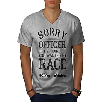 Officer Funny Race Men GreyV-Neck T-shirt | Wellcoda