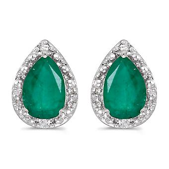 LXR 10k valkoinen kulta päärynä smaragdi ja timantti korvakorut 1.24ct