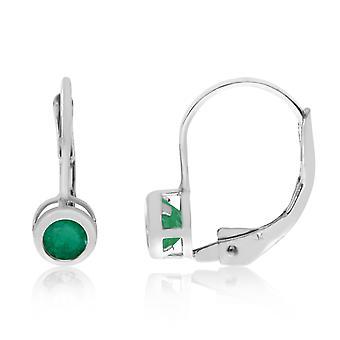 LXR 14k Valkoinen Kulta 4mm Smaragdi kehys Vipuperä korvakorut 0.3ct