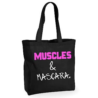 Muscles and Mascara Black Tote Workout Gym Neon Pink and White Text
